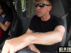 Bound dude roughly knocked off in the the van by a stranger