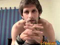 Hairy straight guy wanking solo and teasing in bed