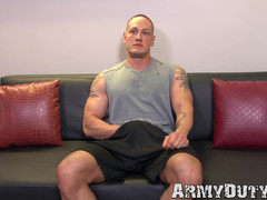 Dazzling inked army jock strokes his thick pecker real hard