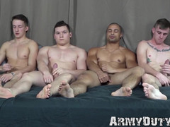 Teen military recruit barebacked in hardcore gay foursome