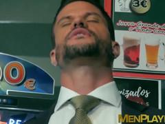 Attractive men in classy suits spitroasting pretty bottom