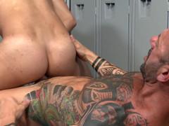 Vic rocco and adrian suarez fuck in the gay locker room
