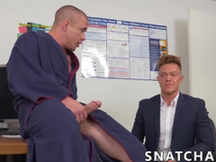 Muscly boss drilling fabulous office worker