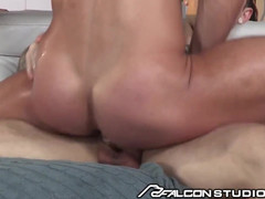Falconstudios hot brunette takes a mammoth pecker