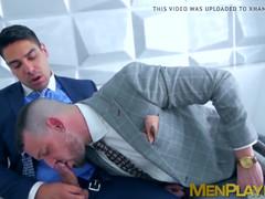 Jock executive has his dick sucked before shagging his man