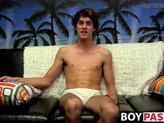 Thin dude takes his undies off and wanks after interview