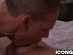 Huge stiff pole pappy banging hard at this hunks butt hole