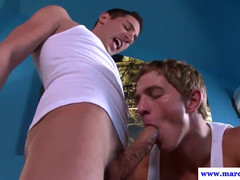 Underclothes sniffing stud jizzed after 69 bj