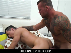 Sleepy step son wakes up to muscled lad step daddy