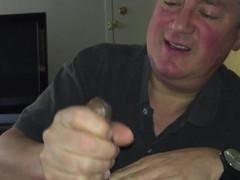 Older papa blowing mammoth chocolate prick