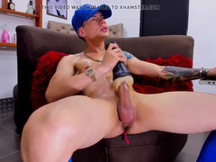 Teenage sporty twink with tattos plays with fleshjack and sperm