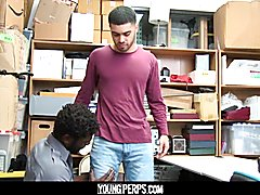 Youngperps - hot ebony security officer shags a virgin boy's tight arsehole