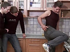 Teenager twink media pissing teenager kitchen triplet
