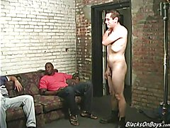 Chocolate men sharing the bum of a funny white guy
