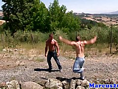 Gay muscled farmboys blowing cock outdoors