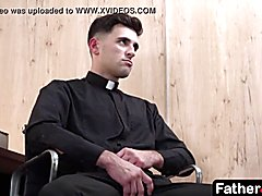 The system at catholic school never fails when priest shoves prick shags boy's butt, stretching his sphincter until the twink moans in pain and pleasure