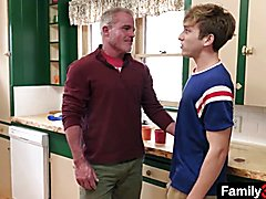 Oldie agitated stepdad tempt teenage step son in the kitchen
