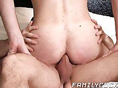 Stepdad gets his son to jump on his stiff hard penis hard