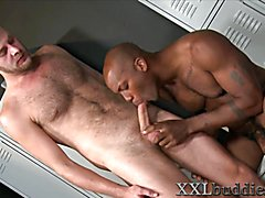 Dark dude with colossal dick gets sucked