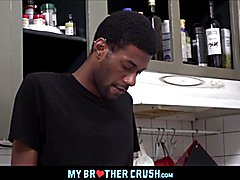 Hot thin ebony teenager identical twin brothers diego and dante triplet with coalblack stepbrother eric ford in family kitchen