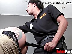 Dark cop shoves his pole up my butt