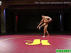Black wrestling jocks fight before blowjob