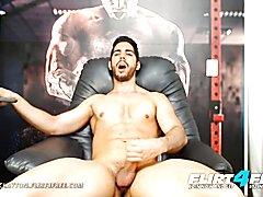 Aaron clayton flirt4free gaming latin hunk strokes his monster pecker