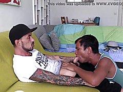 Oriental sucks white macho enormous monster penis