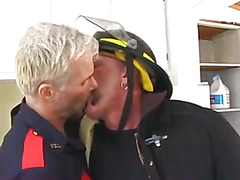 The firemen in the station kitchen want sex. They're