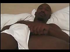 Black solo cock stroking