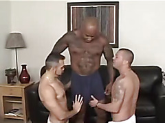 Interracial threesome on couch