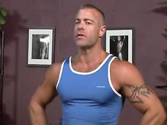 The muscular, hairy daddy is here for a massage and