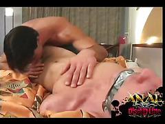 Bound guy sucks cock