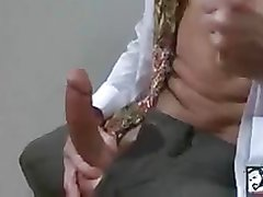 Sexy Bisexual Grandpa Beating his meat at the Office
