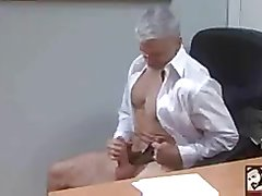 Sexy Bisexual Grandpa Beating his meat at the Office `work`