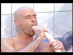 Muscular men masturbating big cocks