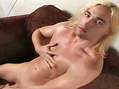 Long haired blonde guy masturbation