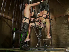 The bondage is thorough and he's locked into that