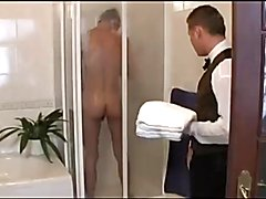 Room Servant walks in on Boy Showering, Fucks him
