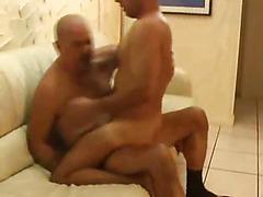 The bald gay daddy fucks a sexy bottom ass today,
