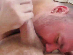 Three hugely fat guys fool around in bed and the homemade group sex has fingering, rimming, ...
