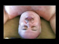The older man with a belly is bent over on the lounge chair and nailed by a thick young cock...