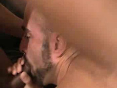 The sexy bear bottom with a bald head bends over and