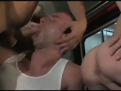Firemen Bareback Threesome in Truck