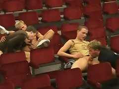 hot sex in auditorium while they are watching gay porn