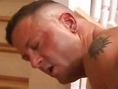 Gay muscle daddy fucks his ass