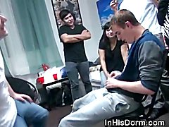 Straight guy getting tricked at a dorm room party in to