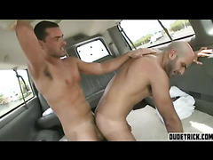 Hairy hunk gets fucked by a tan stud